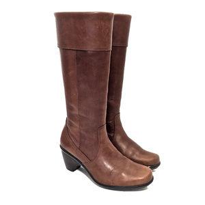 Dansko Brown Leather Knee High Zip Up Boots